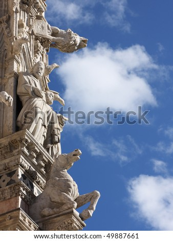 architectural details of duomo cathedral in medieval town Siena,Tuscany,Italy - stock photo