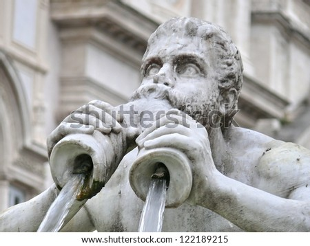 Architectural details of Fontana del Moro or Moro Fountain. Rome. Italy.