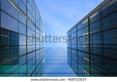 Architectural details of glass and steel building structures