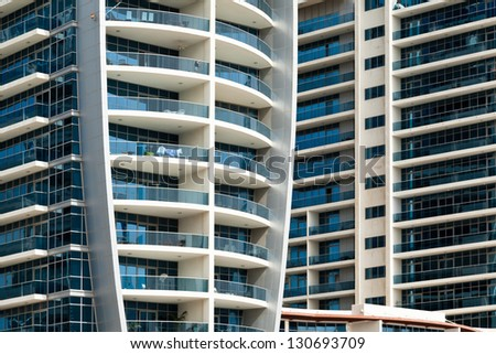 architectural details of modern apartments in Dubai - stock photo