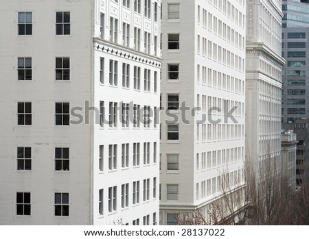 Architectural details of office and downtown buildings in Portland, OR. - stock photo