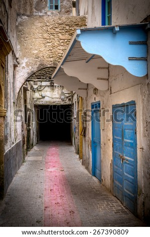 Architectural details of old Essaouira town, Morocco - stock photo