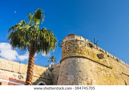 Architectural details of old fortress Bastione San Remy, in Cagliari, Sardinia, Italy - stock photo