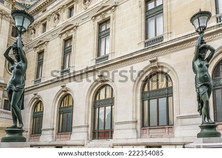 Architectural details of Opera National de Paris. Grand Opera (Garnier Palace) is famous neo-baroque building in Paris, France - UNESCO World Heritage Site.
