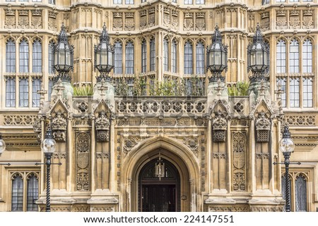 Architectural details of Palace of Westminster (known as Houses of Parliament) located on Middlesex bank of River Thames in City of Westminster, London. - stock photo