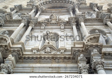 Architectural details of Saint Mary Cathedral - cathedral church of Roman Catholic Diocese of Girona, Catalonia, Spain. Its construction was started in 11th century and was completed in 18th century. - stock photo