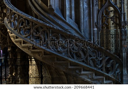 Architectural details of staircase inside of saint Stephen's cathedral at downtown of Vienna, Austria - stock photo