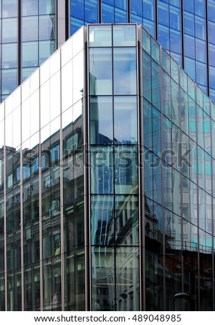 Architectural details of steel and glass buildings