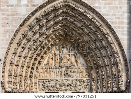 Architectural Details Of The Catholic Cathedral Notre Dame De Paris Built In French Gothic