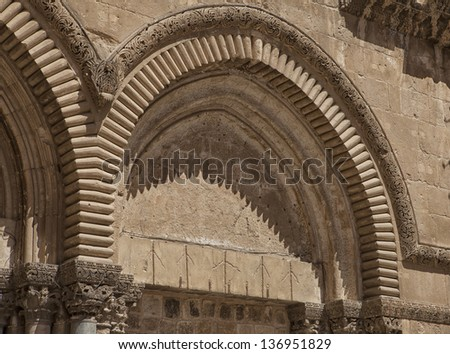 Architectural details of  the Church of the Holy Sepulchre in old city of Jerusalem - stock photo