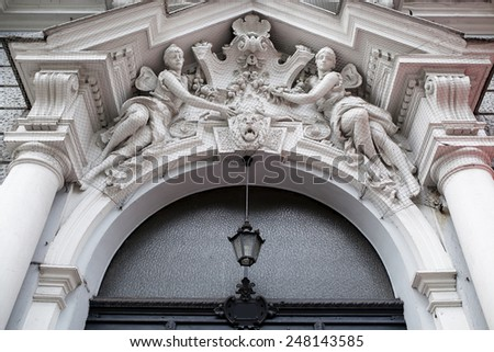 Architectural details of the houses built in Berlin, Germany - stock photo