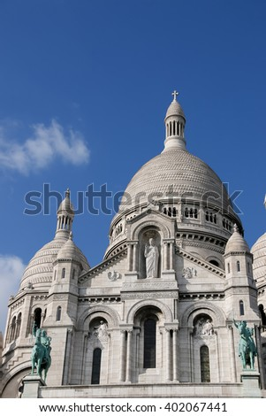 Architectural details of The Sacre Coeur cathedral in Paris. France.  - stock photo