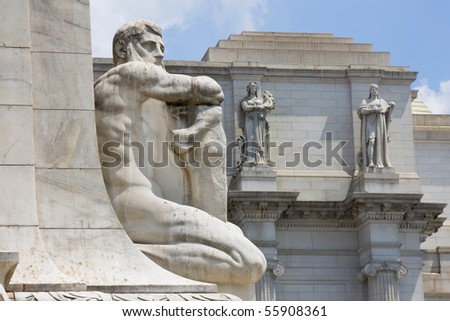 Architectural details of Union station in Washington, DC - stock photo