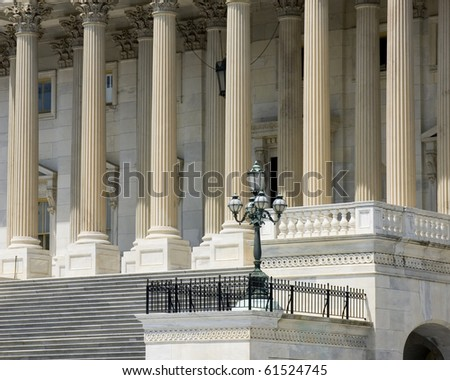 Architectural details of US Capitol building - stock photo
