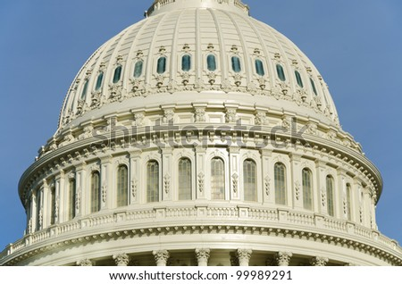 Architectural details of US Capitol building dome