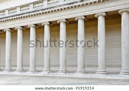 Architectural details with greek style columns perspective