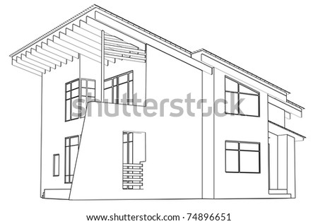 architectural drawing at home in the perspective - stock photo