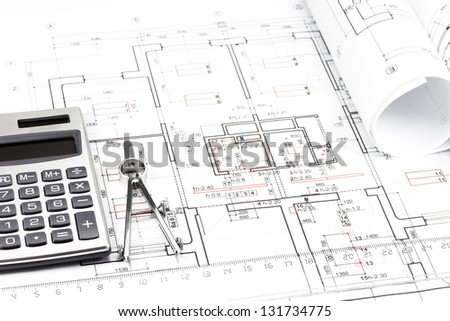 Architectural drawing, drawing compass and calculator
