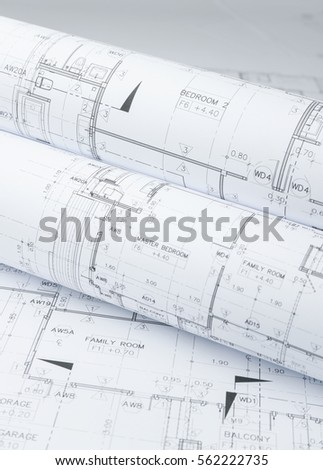 Architectural plans dwelling blue tint stock photo for Paper for architectural drawings