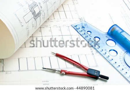 architectural drawing with a ruler and compass - stock photo