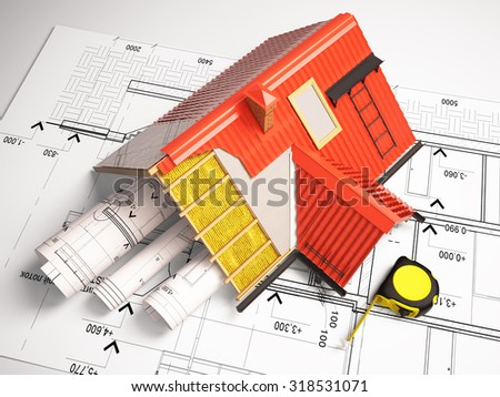 Architectural drawings from the building structure. - stock photo