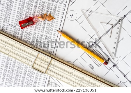 Architectural drawings,  tools for sketching on the table - stock photo