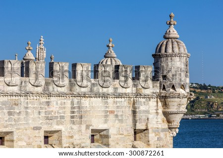 Architectural features of Belem tower in Lisbon, Portugal