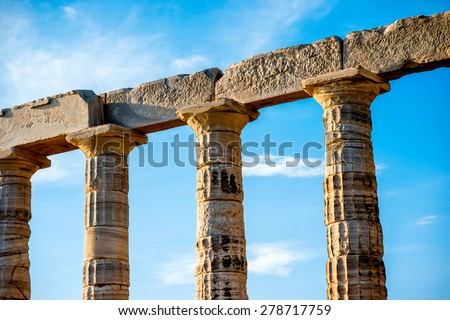 Architectural fragments of Poseidon temple in Sounion, Greece