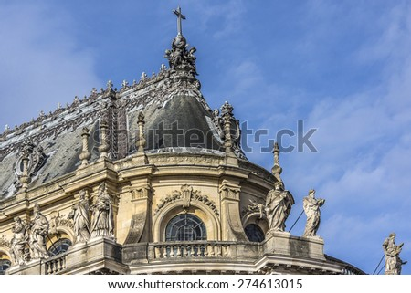 Architectural fragments of Royal Chapel of Palace of Versailles. Palace of Versailles was a royal chateau. It was added to the UNESCO list of World Heritage Sites. Paris, France. - stock photo