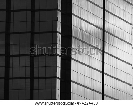 Architectural glass building pattern black and white