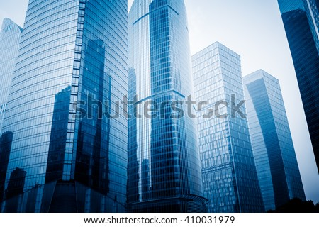 architectural group in shanghai,china,blue toned image. - stock photo
