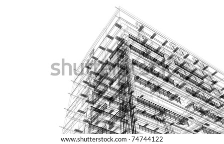 architectural linear perspective - stock photo