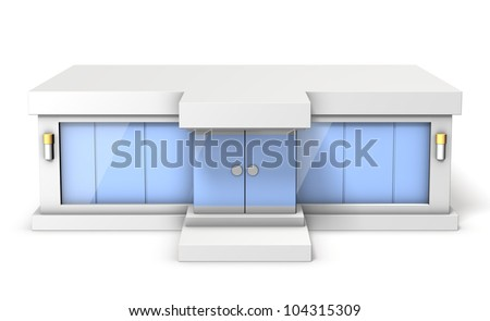 Architectural Model of the showroom,This is a computer generated image,on white background.