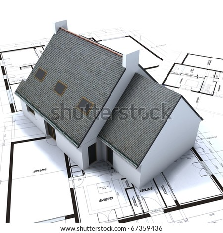 Architectural model on top of architect s blueprints against a white background - stock photo