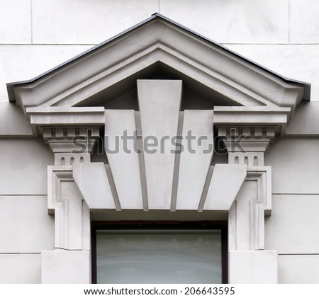 Architectural pediment over the ancient window in Odessa, Ukraine. 23 July 2014 - stock photo
