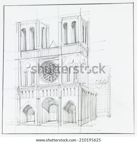 architectural perspective of Notre Dame Cathedral in Paris, drawn by hand - stock photo