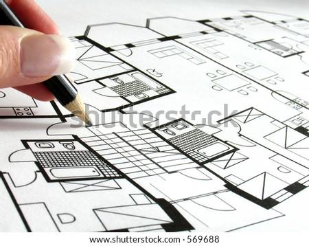 architectural plan 4 - stock photo