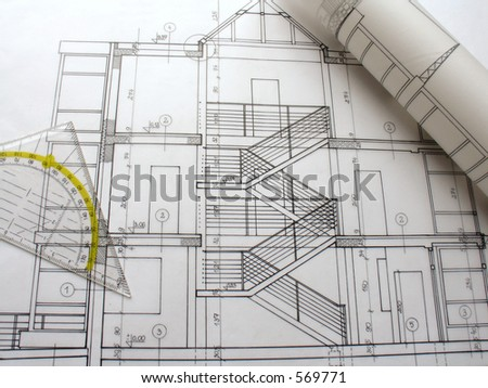 architectural plan 5 - stock photo