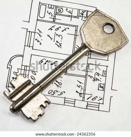 Architectural plan and key - stock photo