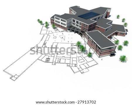 architectural plan with mock-up. 3D render - stock photo