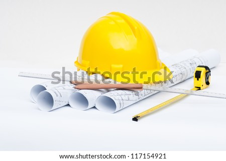 Architectural plans - stock photo
