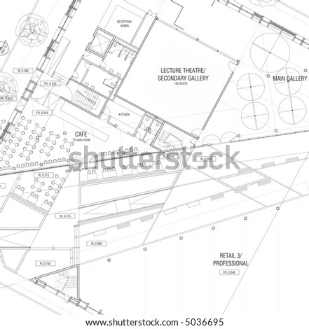 Architectural plans - generic construction project - stock photo