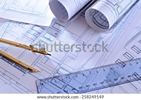 architectural plans of a dwelling with blue tint top view - stock photo