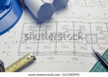 Architecture blueprint stock images royalty free images vectors architectural plans project drawing with blueprints rolls malvernweather Image collections