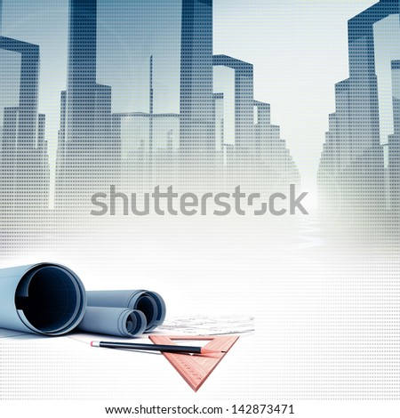 architectural project against glass business buildings - stock photo