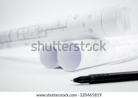 Architectural project,Architecture  plans,Architecture  plans on desk. - stock photo