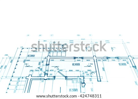 architectural project, construction plan blueprint, technical drawing - stock photo