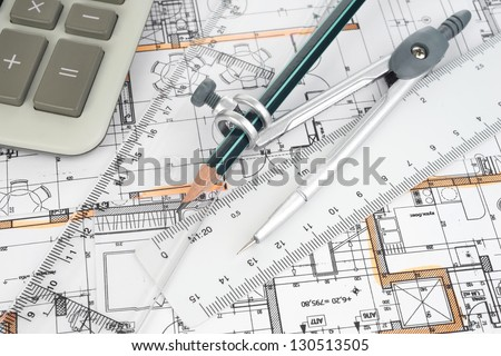 Architectural project, pair of compasses, rulers and calculator