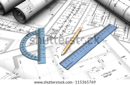 Architectural project with pencil and rules - stock photo