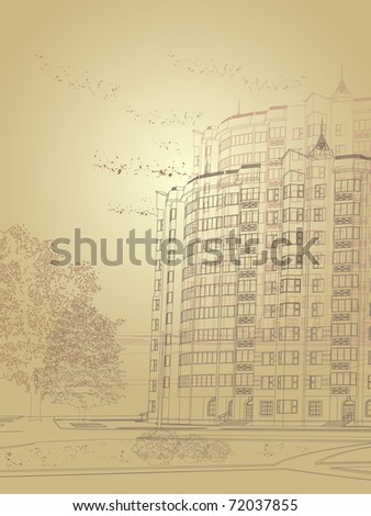 Architectural sepia city background (see eps version in my portfolio) - stock photo